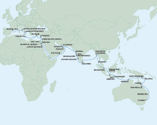 Singles Cruise - Balconies-Suites Seven Seas Voyager November 9 2019 January 12 2020 Barcelona, Spain to Sydney, Australia