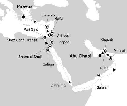 SINGLE Cruise - Balconies-Suites Silversea Silver Cloud April 1-19 2020 Abu Dhabi, United Arab Emirates to Piraeus, Greece