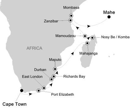 Singles Cruise - Balconies-Suites Silversea Silver Cloud February 27 March 17 2020 Cape Town, South Africa to Mahé, Seychelles