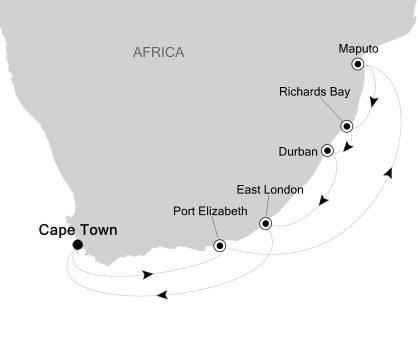 Singles Cruise - Balconies-Suites Silversea Silver Cloud January 28 February 7 2020 Cape Town, South Africa to Cape Town, South Africa