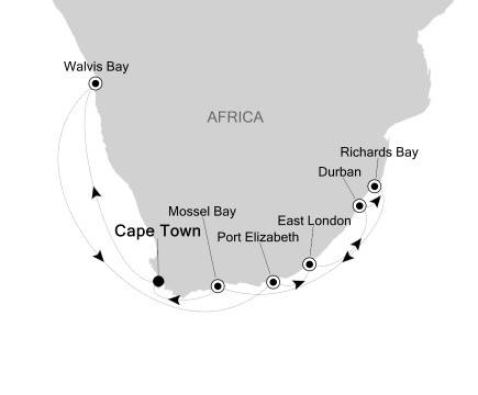 Silversea Silver Cloud January 4-18 2017 Cape Town, South Africa to Cape Town, South Africa