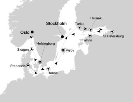 Singles Cruise - Balconies-Suites Silversea Silver Cloud July 7-19 2020 Oslo, Norway to Stockholm, Sweden