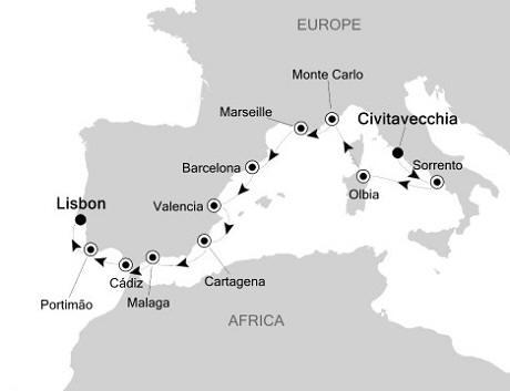Singles Cruise - Balconies-Suites Silversea Silver Cloud July 8-19 2019 Civitavecchia (Rome) to Lisbon, Portugal