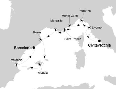 LUXURY CRUISE - Balconies-Suites Silversea Silver Cloud June 17-27 2019 Civitavecchia, Italy to Barcelona, Spain