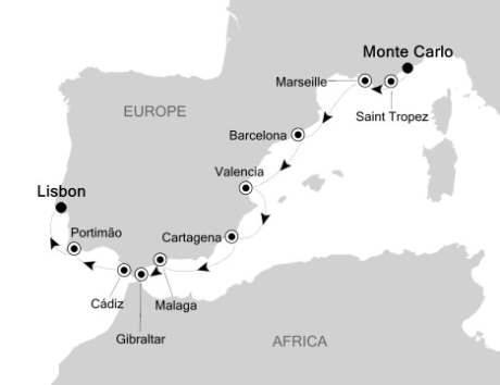 Singles Cruise - Balconies-Suites Silversea Silver Cloud May 19-29 2020 Monte Carlo, Monaco to Lisbon, Portugal
