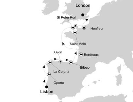 Singles Cruise - Balconies-Suites Silversea Silver Cloud May 29 June 10 2020 Lisbon, Portugal to London, United Kingdom