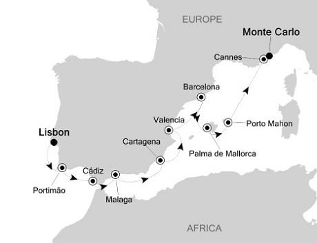 SINGLE Cruise - Balconies-Suites Silversea Silver Cloud September 6-16 2019 Lisbon, Portugal to Monte Carlo