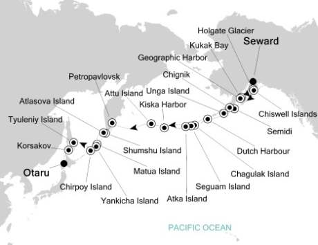 Silversea Cruise Silversea Silver Origin August 11-29 2027 Seward, AK, United States to Otaru, Japan