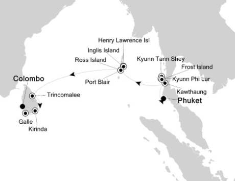 LUXURY CRUISE - Balconies-Suites Silversea Silver Discoverer December 10-22 2020 Phuket, Thailand to Colombo, Sri Lanka