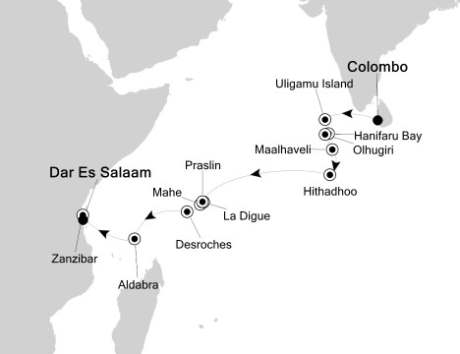 Singles Cruise - Balconies-Suites Silversea Silver Discoverer December 22 2020 January 8 2018 Colombo, Sri Lanka to Dar Es Salaam, Tanzania