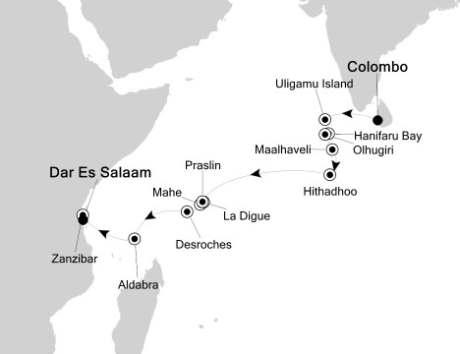 Singles Cruise - Balconies-Suites Silversea Silver Discoverer December 22 2020 January 8 2018 Colombo, Sri Lanka to Dar Es Salaam, Tanzania
