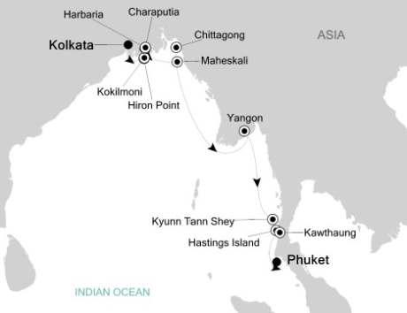 Silversea Cruise Silversea Silver Origin February 27 March 13 2027 Kolkata, India to Phuket, Thailand
