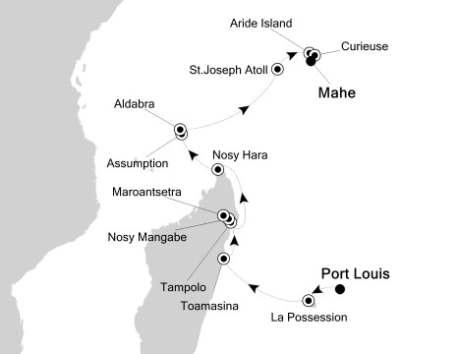 Silversea Cruise Silversea Silver Origin January 16-30 2027 Port Louis, Mauritius to Mahé, Seychelles