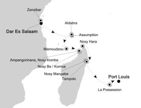Silversea Silver Discoverer January 3-16 2017 Dar Es Salaam, Tanzania to Port Louis, Mauritius