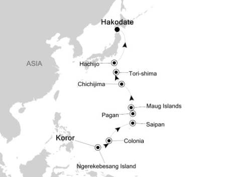 SINGLE Cruise - Balconies-Suites Silversea Silver Discoverer June 9-21 2020 Palau Island, Palau to Hakodate, Japan