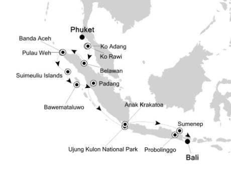Singles Cruise - Balconies-Suites Silversea Silver Discoverer March 13-26 2020 Phuket, Thailand to Benoa (Bali), Indonesia