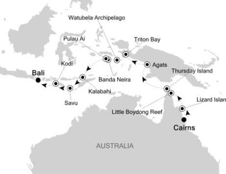 SINGLE Cruise - Balconies-Suites Silversea Silver Discoverer November 9-23 2020 Cairns, Australia to Benoa (Bali), Indonesia