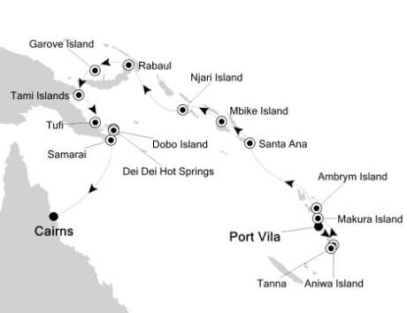 SINGLE Cruise - Balconies-Suites Silversea Silver Discoverer October 25 November 9 2020  Port Vila, Vanuatu to Cairns, Australia