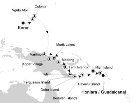 Singles Cruise - Balconies-Suites Silversea Silver Discoverer October 4-18 2020 Palau Island, Palau to Honiara, Solomon Islands