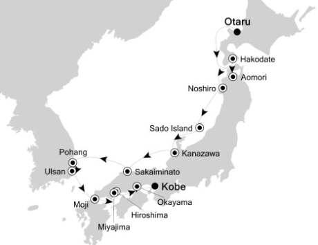Singles Cruise - Balconies-Suites Silversea Silver Discoverer September 16-27 2020 Otaru, Japan to Kobe, Japan