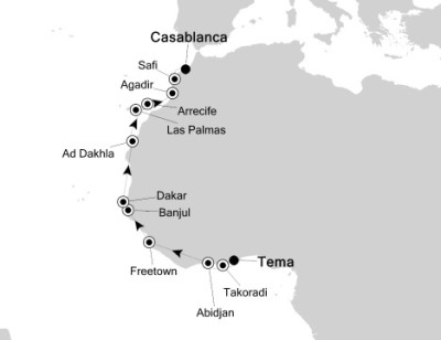 Singles Cruise - Balconies-Suites Silversea Silver Explorer April 17 May 3 2020 Tema, Ghana to Casablanca, Morocco