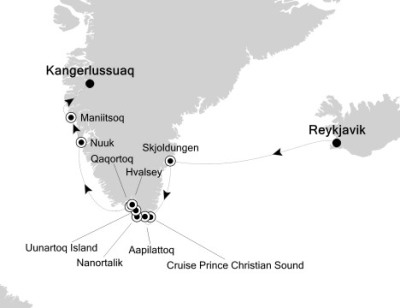 Luxury Cruises Just Silversea Silver Explorer August 22-31 2027 Reykjavík, Iceland to Kangerlussuaq, Greenland