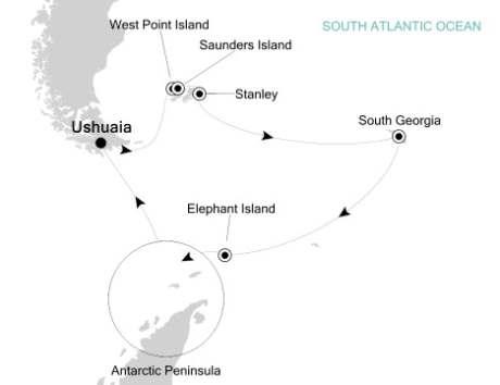 Luxury Cruises Just Silversea Silver Explorer Dcember 18 2027 January 5 2018 Ushuaia, Argentina to Ushuaia, Argentina