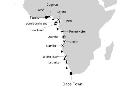 SINGLE Cruise - Balconies-Suites Silversea Silver Explorer March 30 April 17 2020 Cape Town, South Africa to Tema, Ghana