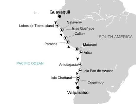 Singles Cruise - Balconies-Suites Silversea Silver Explorer October 25 November 8 2020 Guayaquil, Ecuador to Valparaíso, Chile