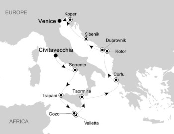 Silversea Silver Muse June 21 July 3 2017 Rome (Civitavecchia), Italy to Venice, Italy