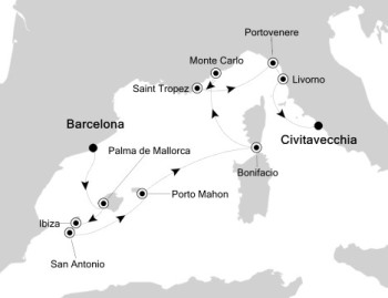 Silversea Silver Muse June 9-21 2017 Barcelona, Spain to Rome (Civitavecchia), Italy