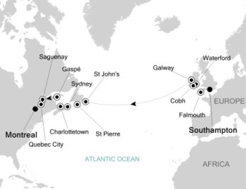 Luxury Cruises Just Silversea Silver Muse September 12-28 2027 London (Southampton), England to Montreal, QC, Canada