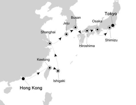 Singles Cruise - Balconies-Suites Silversea Silver Shadow April 19 May 4 2020 Hong Kong, China to Tokyo, Japan