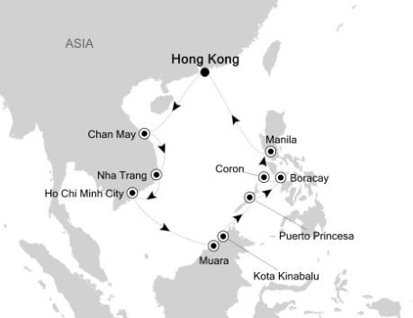 Singles Cruise - Balconies-Suites Silversea Silver Shadow April 5-19 2020 Hong Kong, China to Hong Kong, China