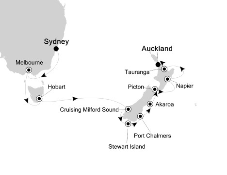Singles Cruise - Balconies-Suites Silversea Silver Shadow December 5-19 2020 Sydney, Australia to Auckland, New Zealand
