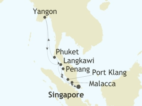 SINGLE Cruise - Balconies-Suites Silversea Silver Shadow February 13-25 2019 Singapore to Singapore