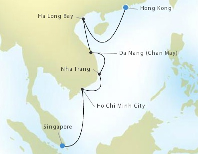 SINGLE Cruise - Balconies-Suites Silversea Silver Shadow January 28 February 6 2019 Hong Kong to Singapore