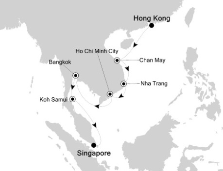 Silversea Silver Shadow January 4-15 2017 Hong Kong, China to Singapore, Singapore