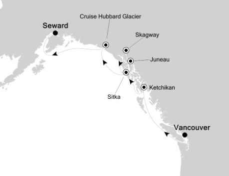 Just Silversea Cruises Silversea Silver Shadow June 22-29 2027 Vancouver, Canada to Seward, AK, United States