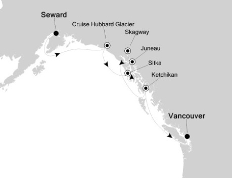 Silversea Cruise Silversea Silver Shadow June 29 July 6 2027 Seward, AK, United States to Vancouver, Canada