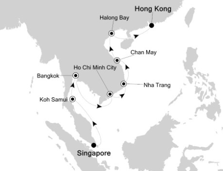 Singles Cruise - Balconies-Suites Silversea Silver Shadow March 22 April 5 2020 Singapore, Singapore to Hong Kong, China