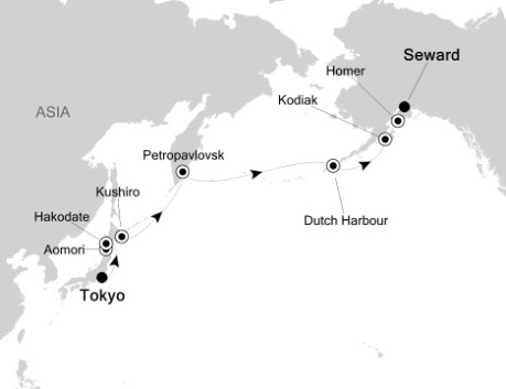 Singles Cruise - Balconies-Suites Silversea Silver Shadow May 4-18 2020 Tokyo, Japan to Seward, AK, United States