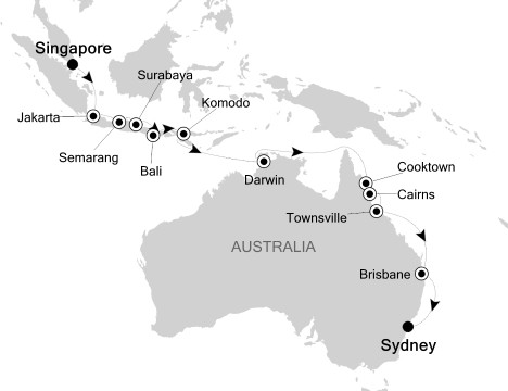 Singles Cruise - Balconies-Suites Silversea Silver Shadow November 17 December 5 2020 Singapore, Singapore to Sydney, Australia