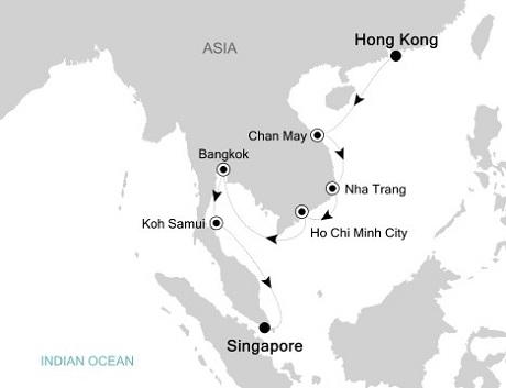 LUXURY CRUISE - Balconies-Suites Silversea Silver Shadow November 26 December 8 2019 Hong Kong to Singapore