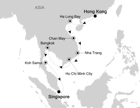 Singles Cruise - Balconies-Suites Silversea Silver Shadow November 3-17 2020 Hong Kong, China to Singapore, Singapore