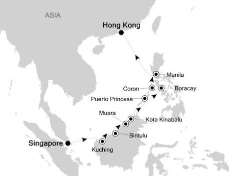 SINGLE Cruise - Balconies-Suites Silversea Silver Shadow October 22 November 3 2020 Singapore, Singapore to Hong Kong, China
