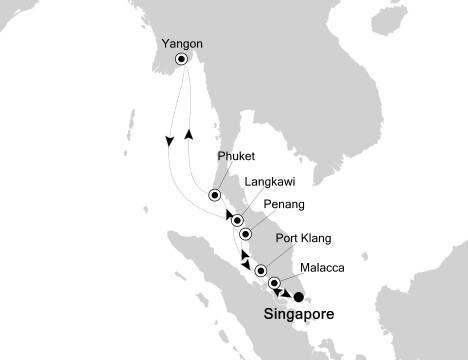 SINGLE Cruise - Balconies-Suites Silversea Silver Shadow October 31 November 12 2019 Singapore to Singapore