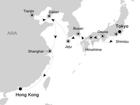 Singles Cruise - Balconies-Suites Silversea Silver Shadow October 4-20 2019 Tokyo to Hong Kong
