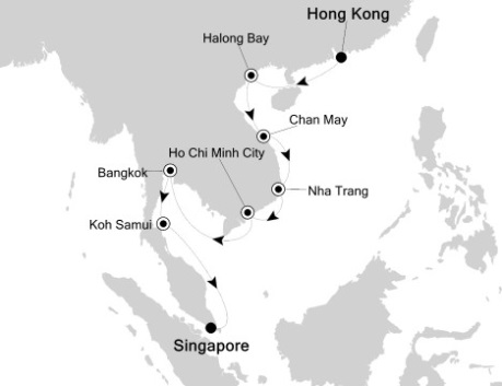 Singles Cruise - Balconies-Suites Silversea Silver Shadow October 8-22 2020 Hong Kong, China to Singapore, Singapore