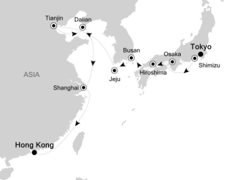 Singles Cruise - Balconies-Suites Silversea Silver Shadow September 22 October 8 2020 Tokyo, Japan to Hong Kong, China